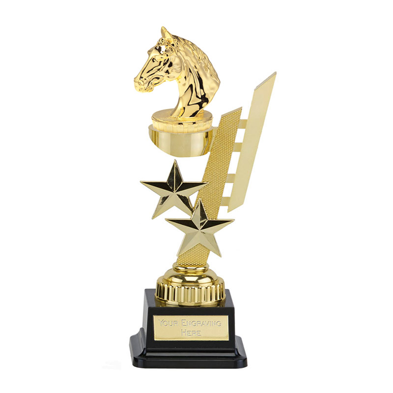 27cm Gold Horses Head Figure On Horse Riding Sports Star Award