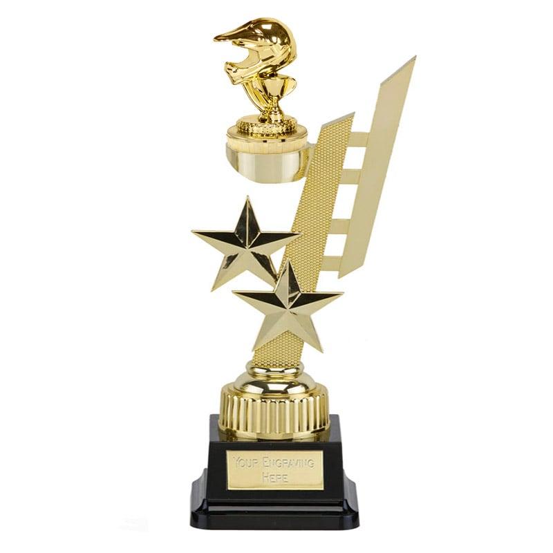 32cm Gold Motorcross Helmet Figure On Motorsports Sports Star Award