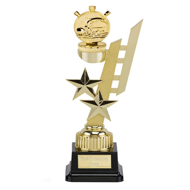 32cm Gold Swimming Figure On Sports Star Award