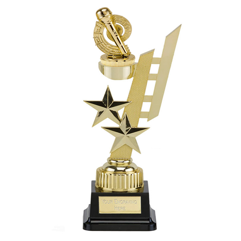 32cm Gold Microphone Place Figure On Music Sports Star Award
