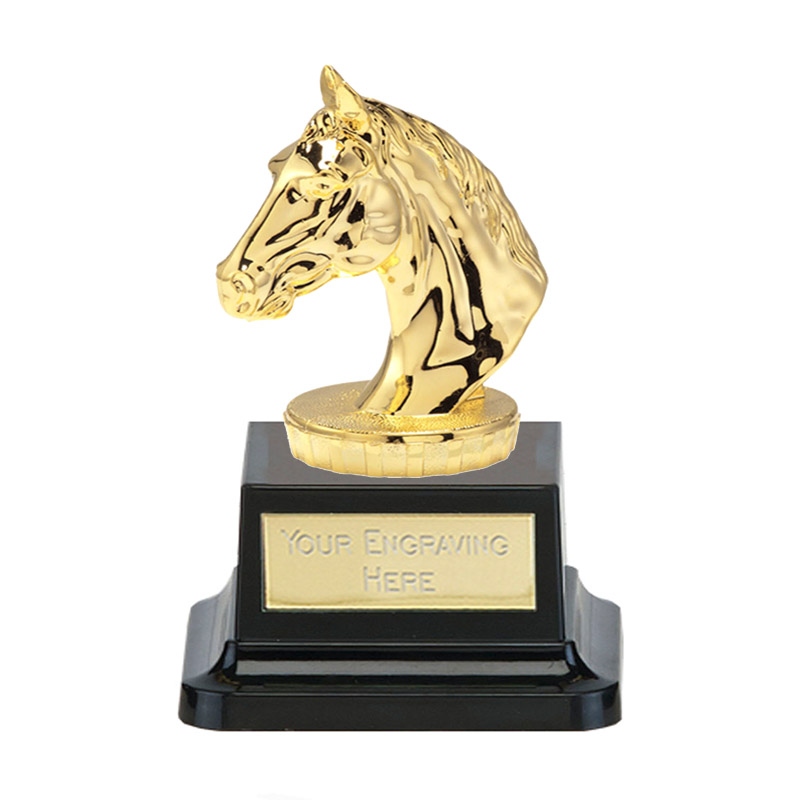 13cm Gold Horses Head Figure on Horse Riding Pegasus Award