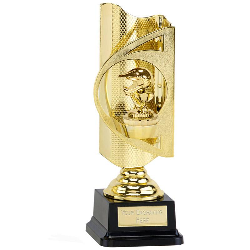 31cm Gold Motorcross Helmet Figure on Motorsports Infinity Award