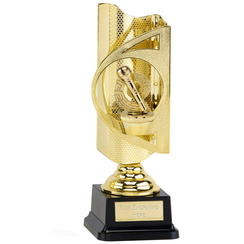 31cm Gold Microphone Place Figure on Music Infinity Award