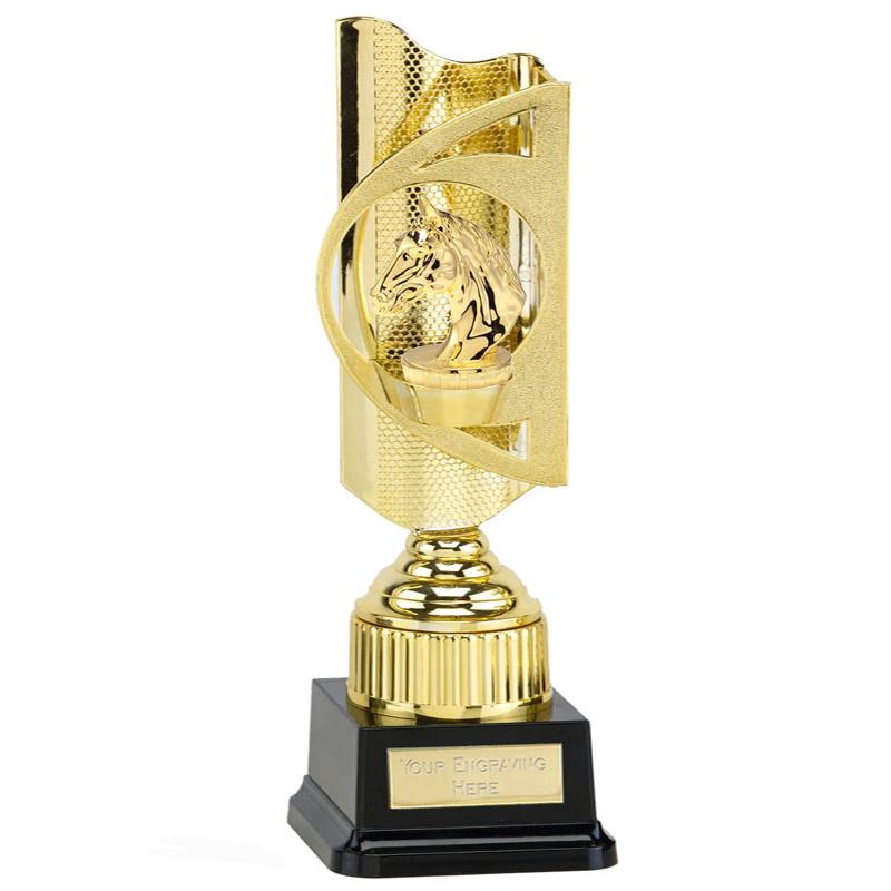 35cm Gold Horses Head Figure on Horse Riding Infinity Award