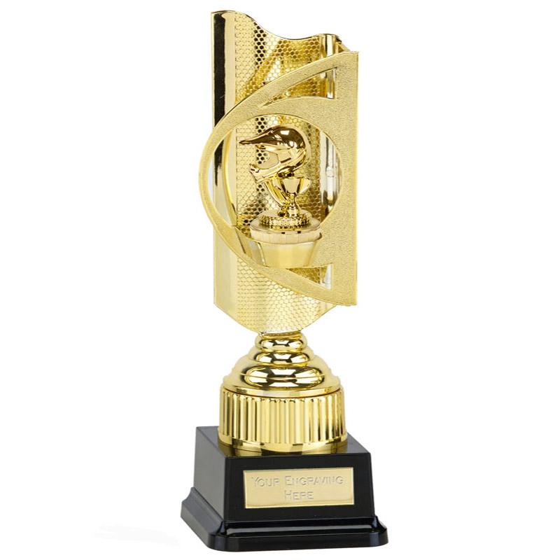 35cm Gold Motorcross Helmet Figure on Motorsports Infinity Award