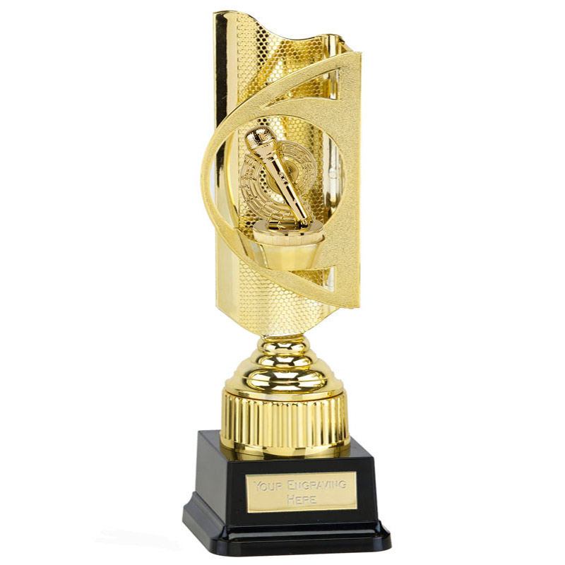 35cm Gold Microphone Place Figure On Music Infinity Award