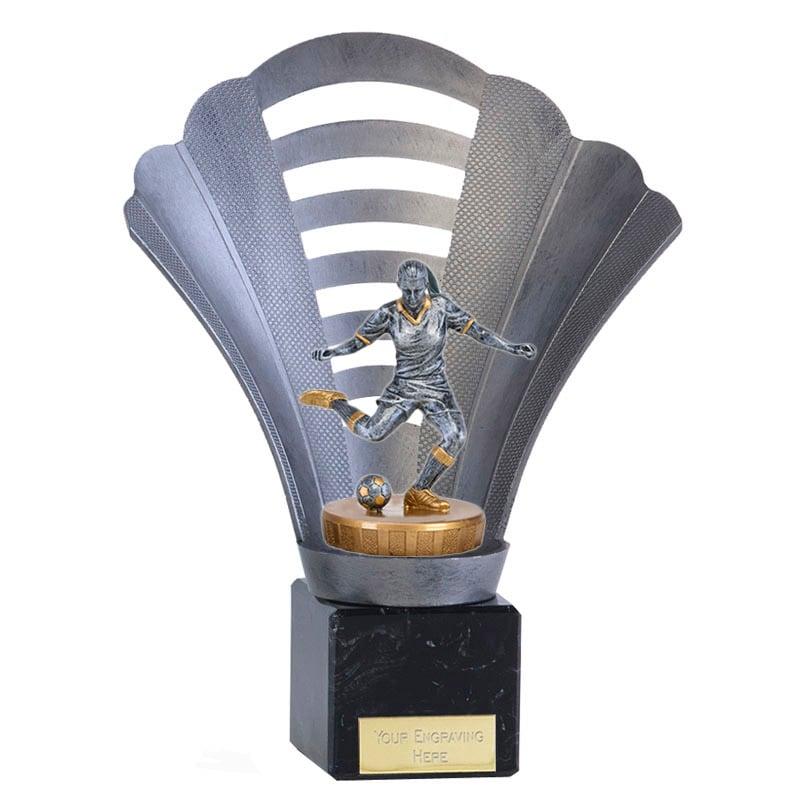 8 Inch Footballer Female Figure on Football Arena Award