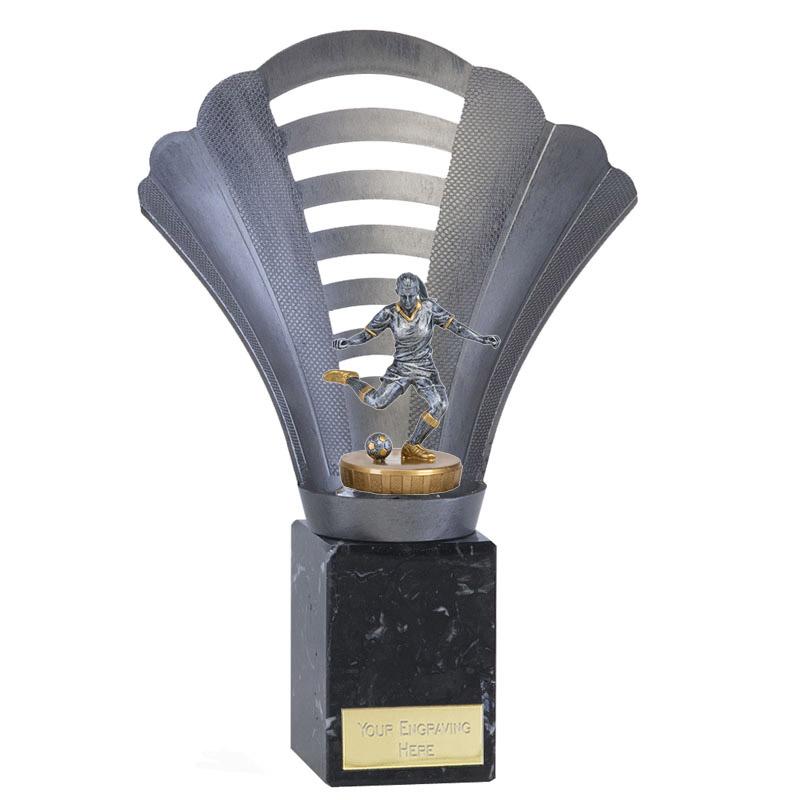 23cm Footballer Female Figure on Football Arena Award