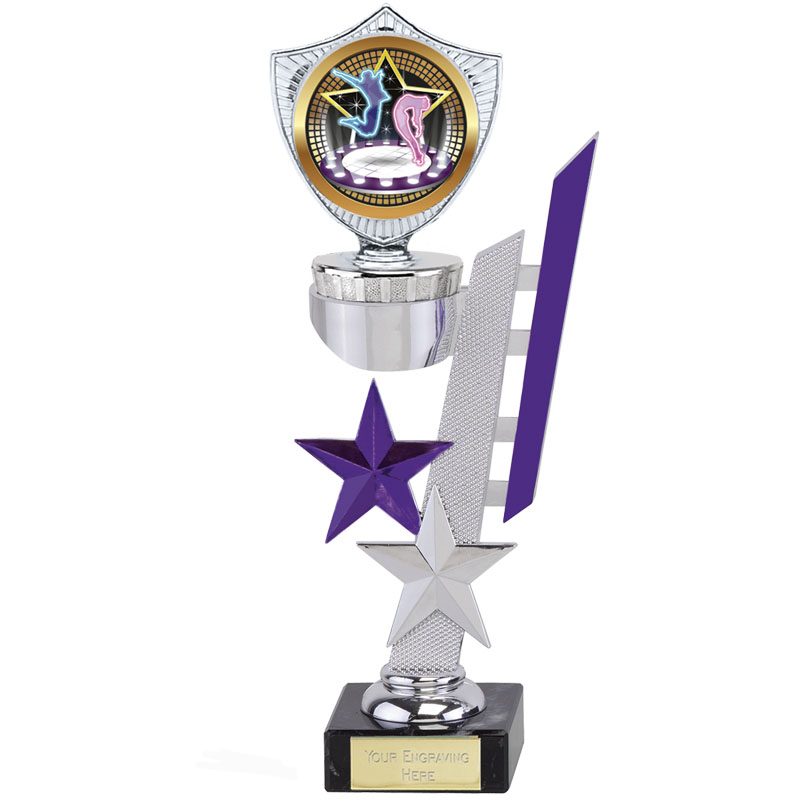 8 Inch Silver with Purple Detail Sports Star Award