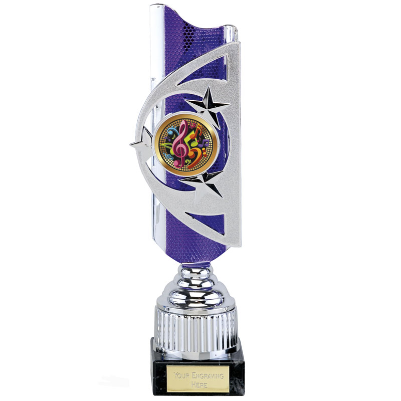 12 Inch Silver with Purple Backing Infinity Award