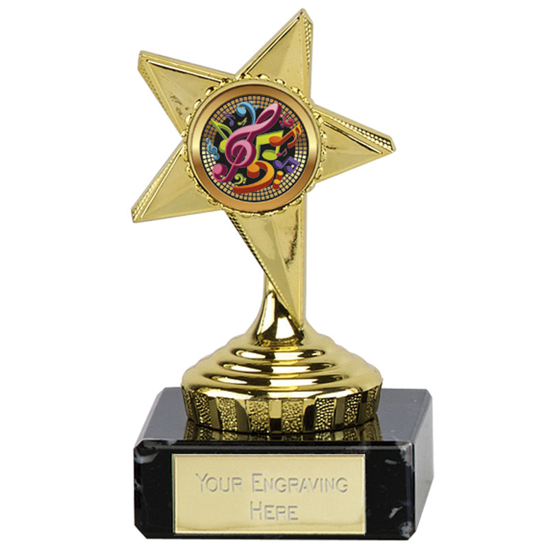 4 Inch Musical Notes Gold Guide Star Award