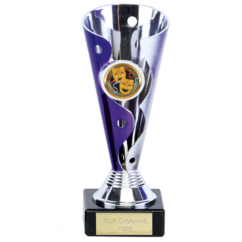 5 Inch Purple & Silver Conical Carnival Trophy Cup