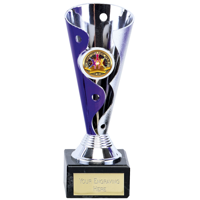 7 Inch Purple & Silver Conical Carnival Trophy Cup
