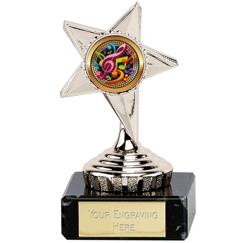 4 Inch Musical Notes Silver Guide Star Award