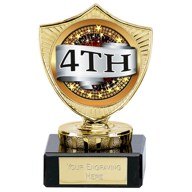 4 Inch Large 4th Place Spectrum Mini Shield