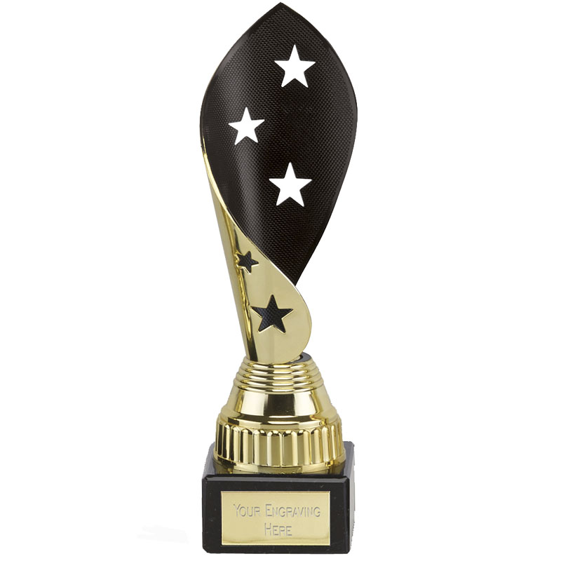 8 Inch Black & Gold Star Twist Festival Award