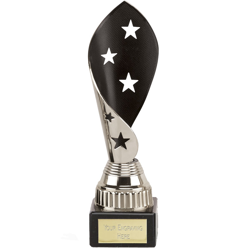 8 Inch Black & Silver Star Twist Festival Award