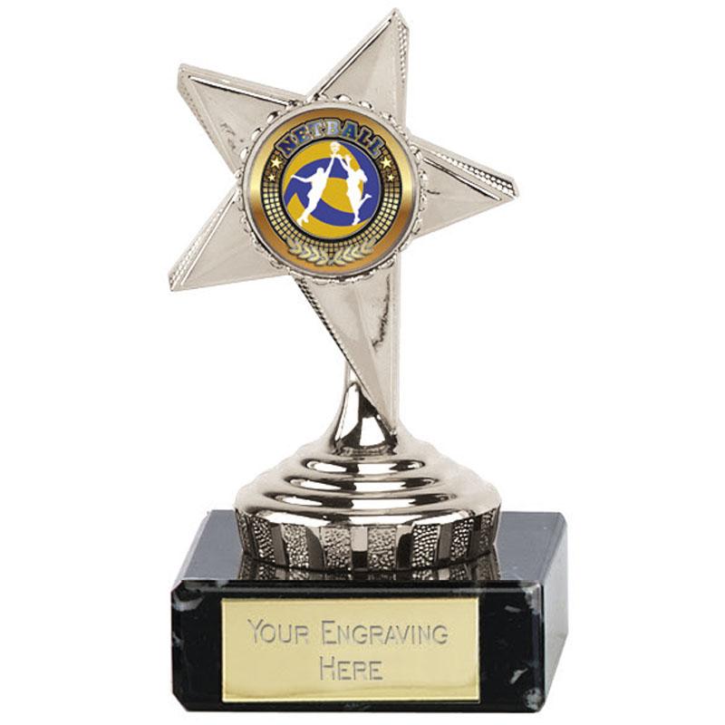4 Inch Silver centre Star Mini Award