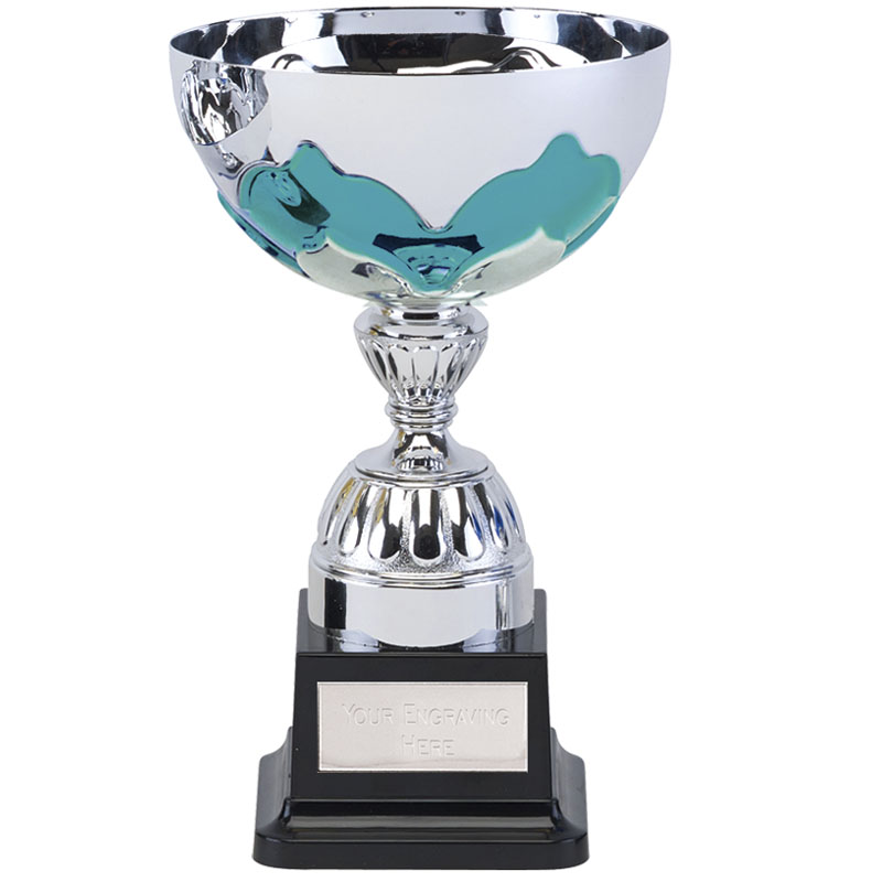 8 Inch Teal Embellishment Eagle Trophy Cup