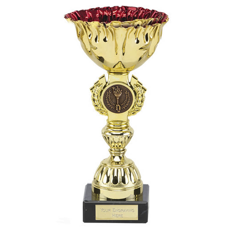 7 Inch Red Cup & Centre Holder Ruby Trophy Cup