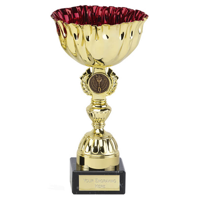 9 Inch Red Cup & Centre Holder Ruby Trophy Cup