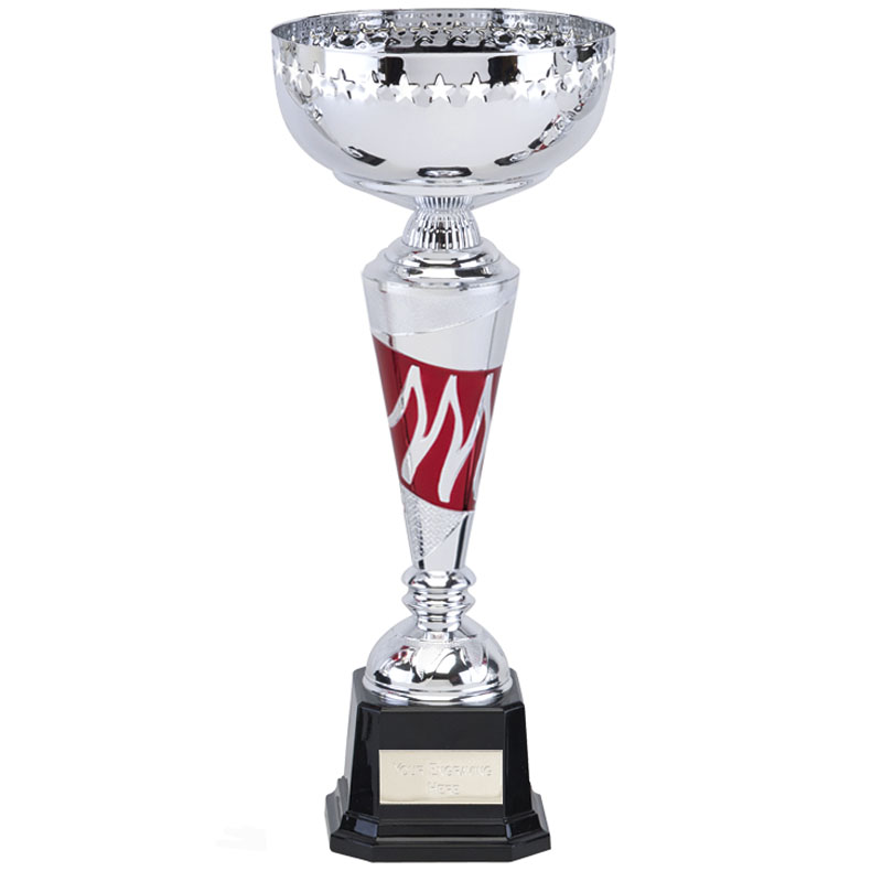 12 Inch Red Flame Inlay Volcano Trophy Cup