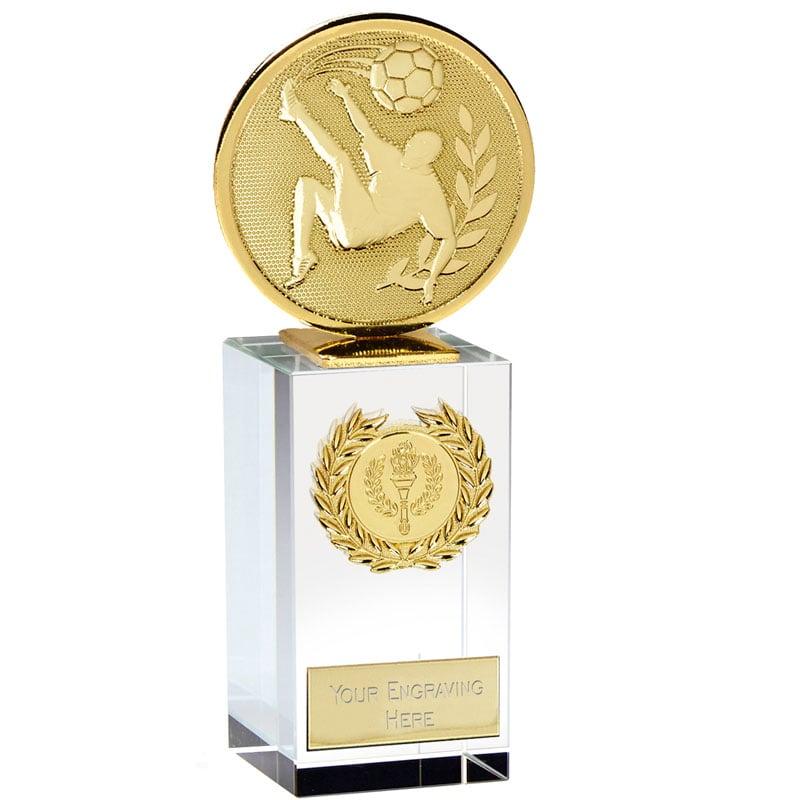 6 Inch Gold Overhead Kick Football Global Glass Award