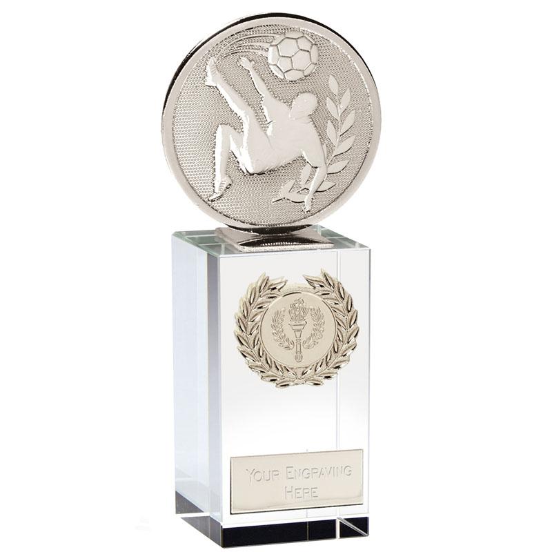 6 Inch Silver Overhead Kick Football Global Glass Award