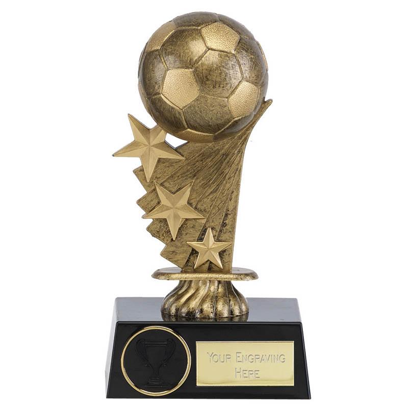 6 Inch Stars & Gold Ball Football Shooting Star Award