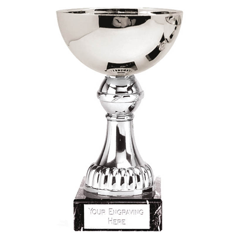 6 Inch Silver Tall Stem Nordic Trophy Cup