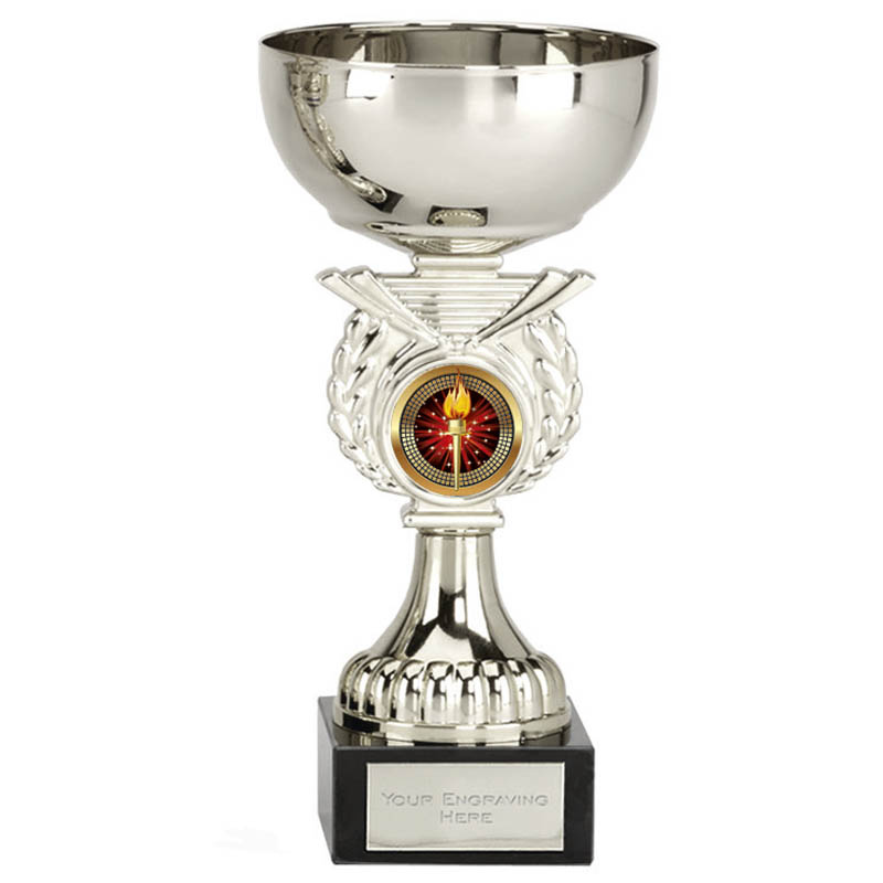6 Inch Silver Cup & Centre Holder Stem Crusader Trophy cup
