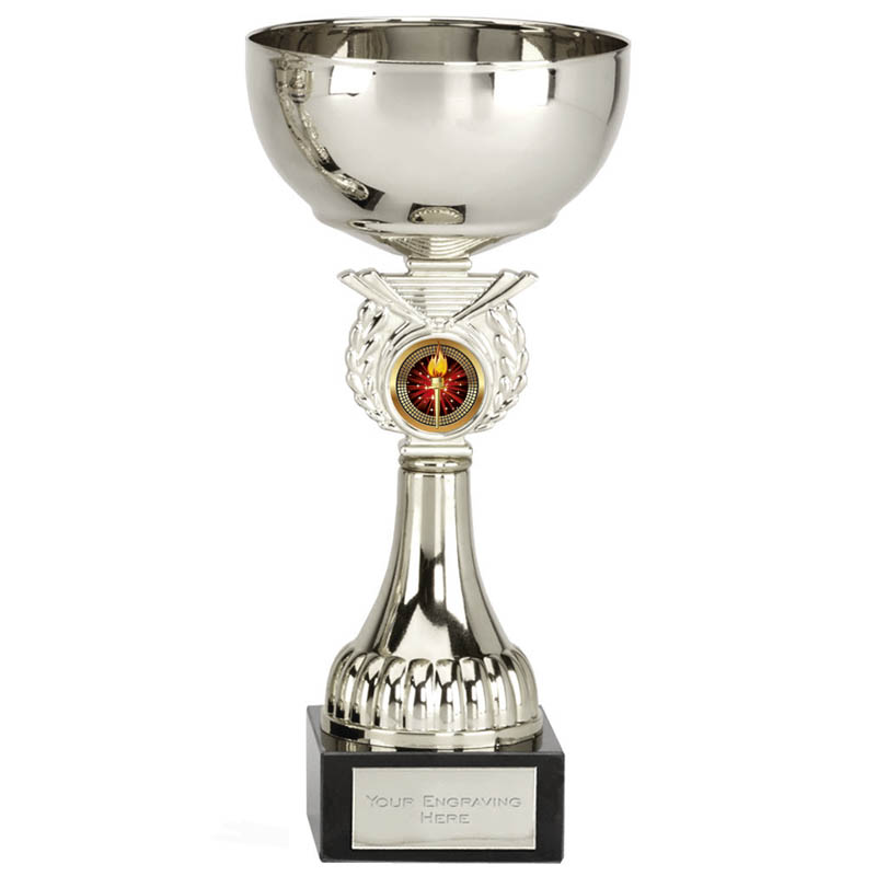 8 inch Silver Cup & Centre Holder Stem Crusader Trophy cup