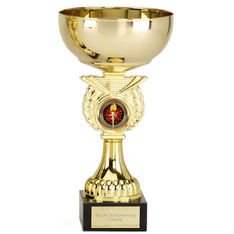 7 Inch Gold Cup & Centre Holder Stem Crusader Trophy cup