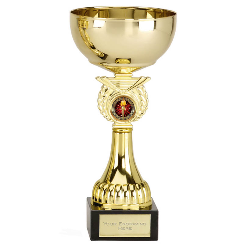 8 Inch Gold Cup & Centre Holder Stem Crusader Trophy cup