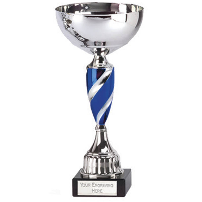 7 Inch Blue Spiral Stem Saturn Trophy Cup