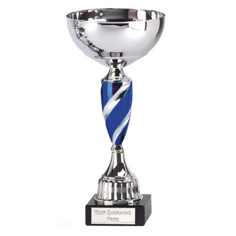 8 Inch Blue Spiral Stem Saturn Trophy Cup