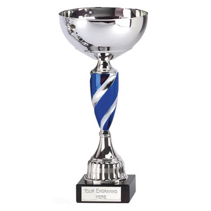 10 Inch Blue Spiral Stem Saturn Trophy Cup