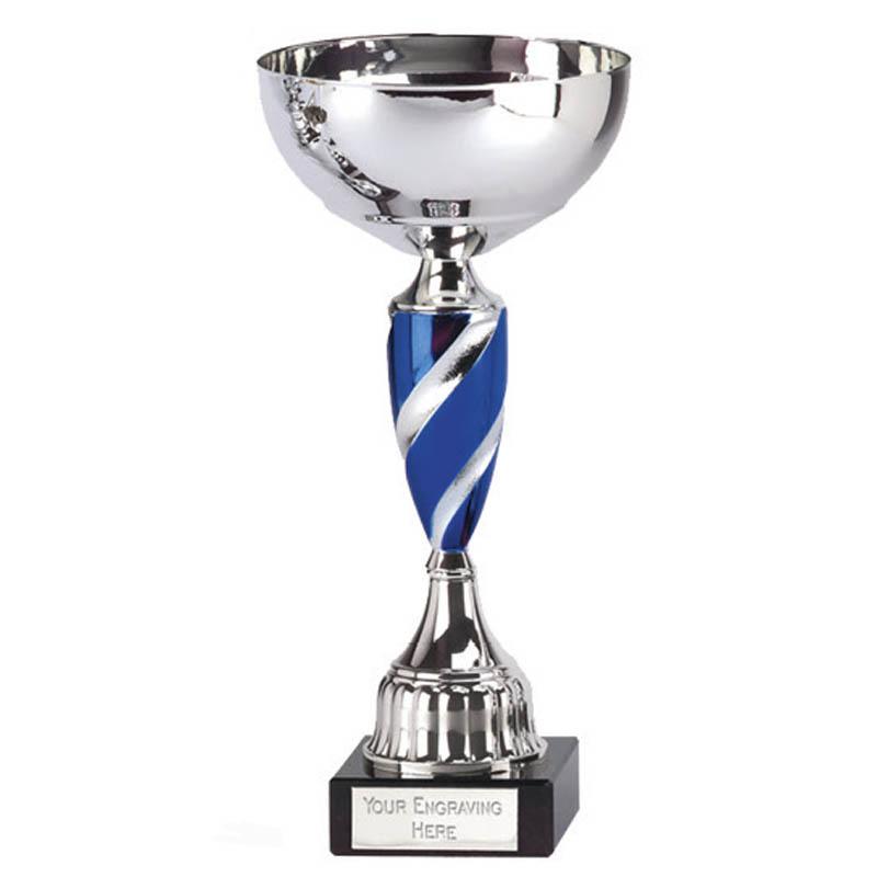 11 inch Blue Spiral Stem Saturn Trophy Cup