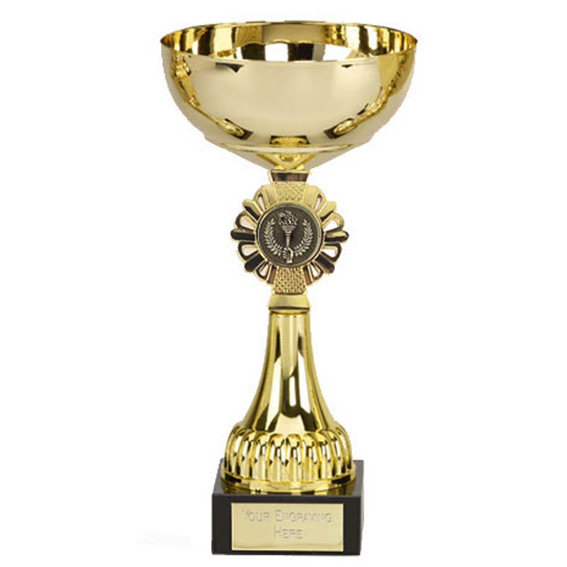 9 Inch Gold Centre Holder Gold Shield Trophy Cup