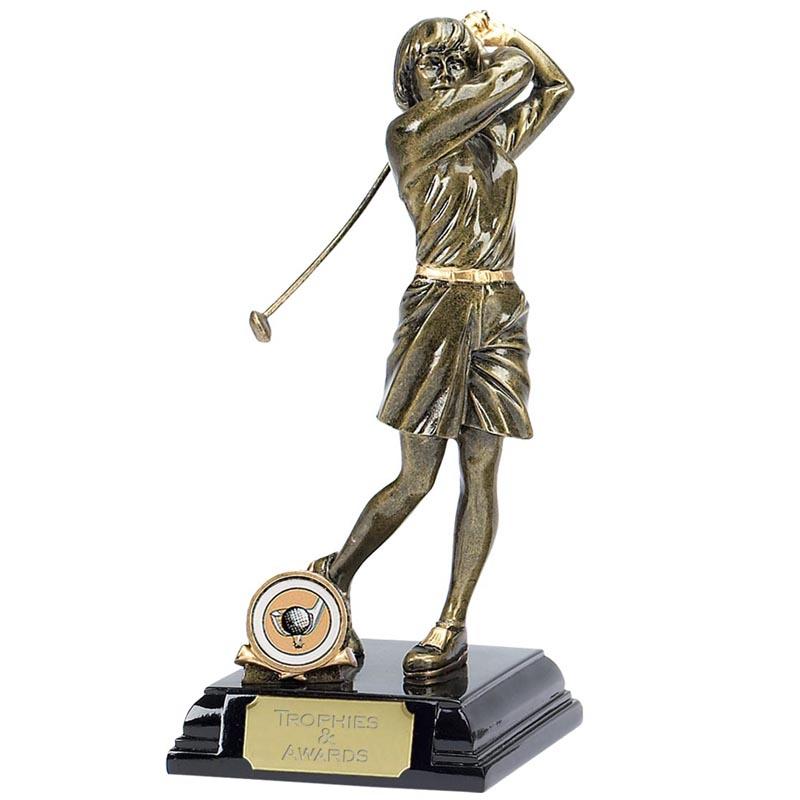 9 Inch Gold Female Golfer Golf Award