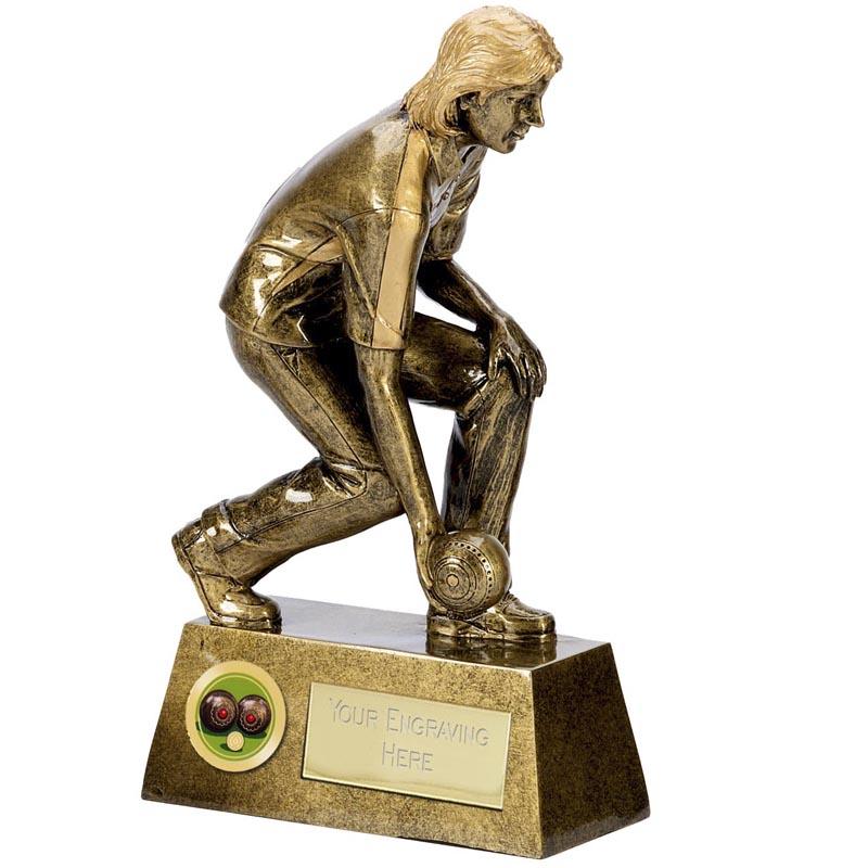 8 Inch Female Bowler Bowls Pinnacle Statue