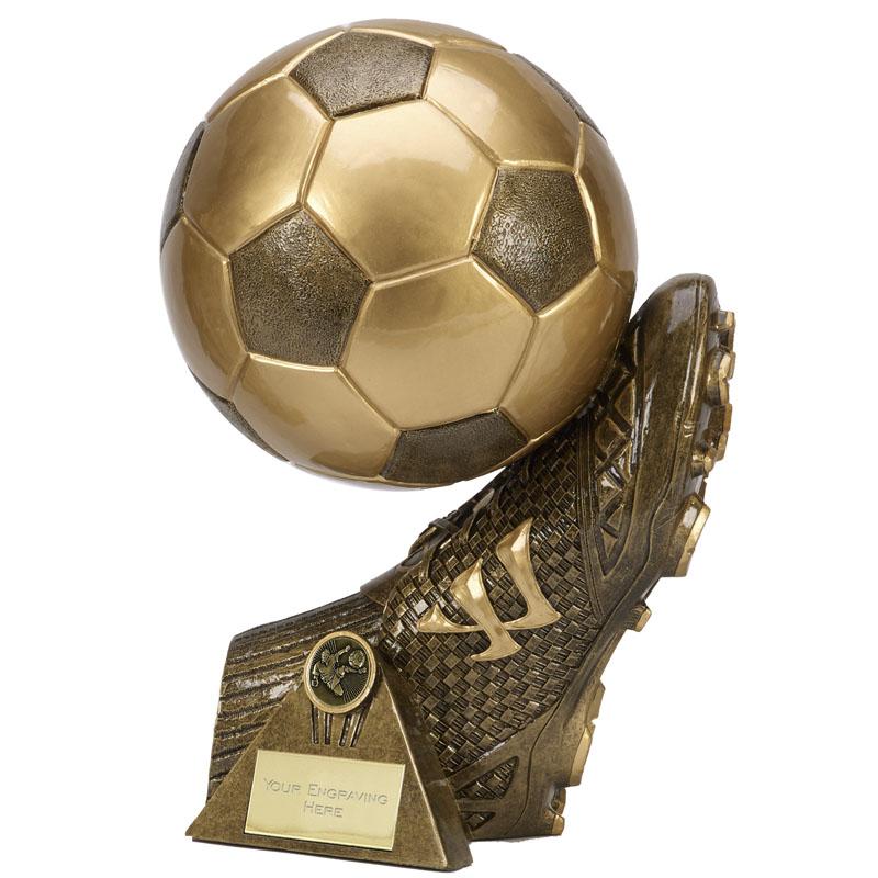 9 Inch Boot & Ball Football Warrior Statue