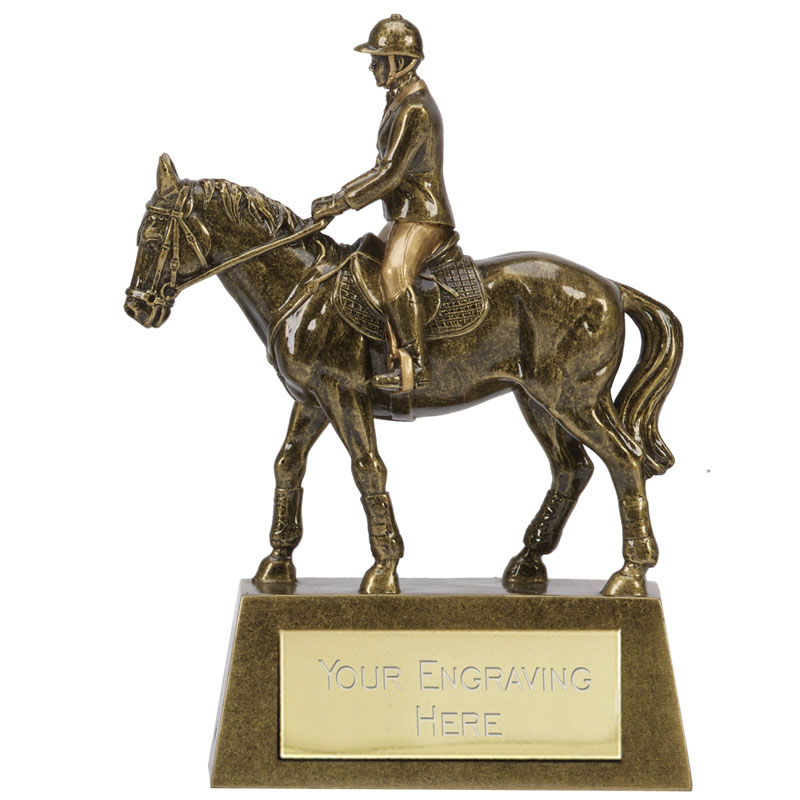 7 Inch Horse & Rider Shooting Hamble Statue