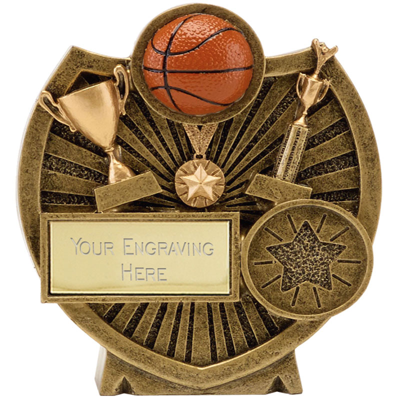 Ball & Trophies Basketball Century Shield Award