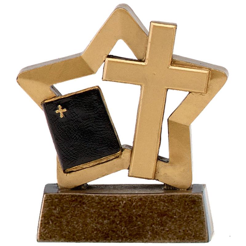 3 Inch Crucifix & Bible Religion Mini Star Award