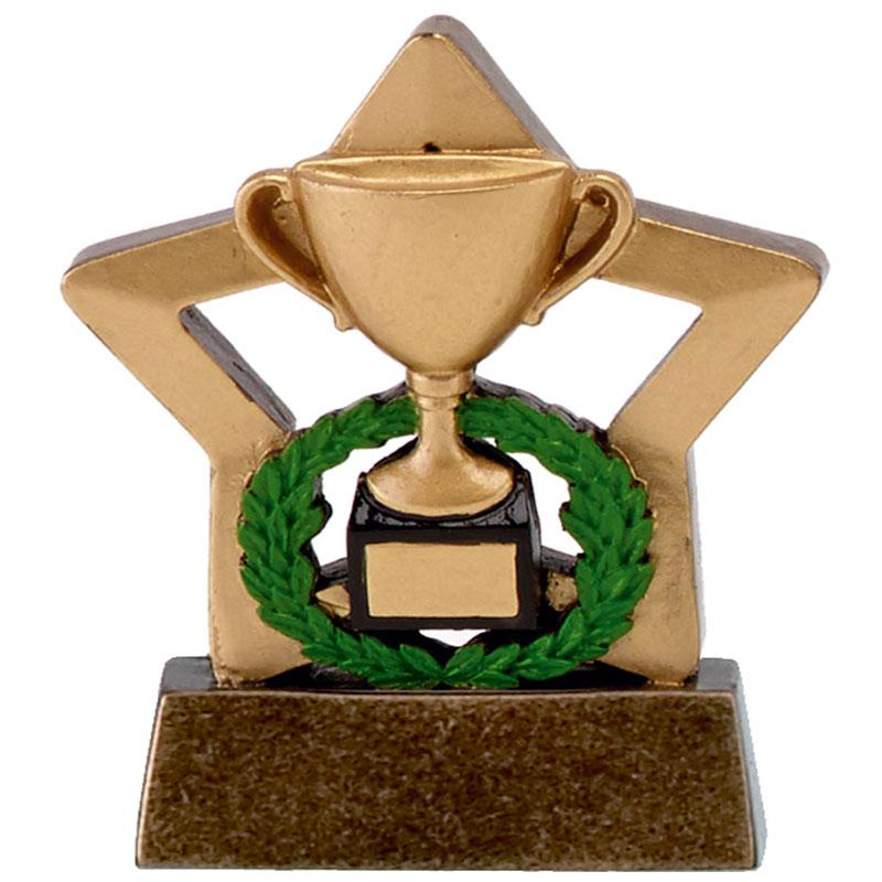 3 Inch Gold Trophy & Wreath Mini Star Award