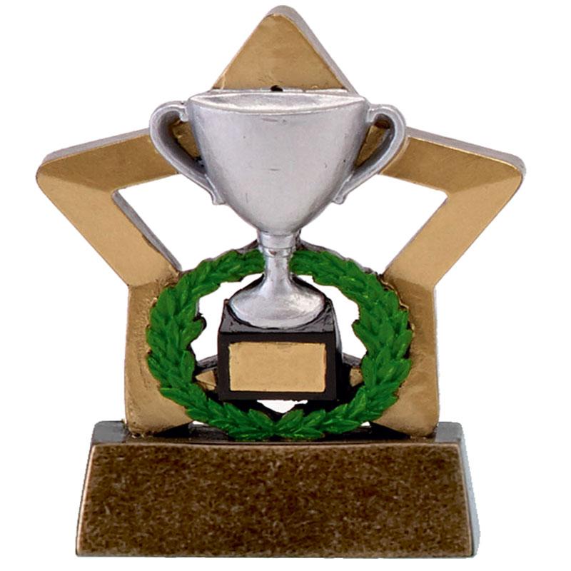 3 Inch Silver Trophy & Wreath Mini Star Award