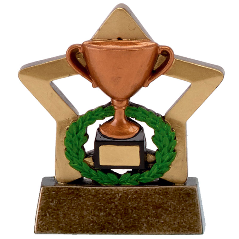 Bronze Trophy & Wreath Mini Star Award