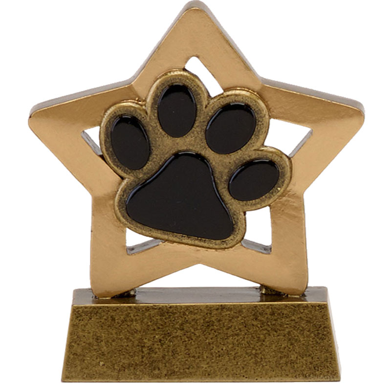 3 Inch Paw Print Pets Mini Star Award