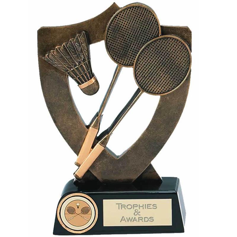 5 Inch Shield Back Badminton Award